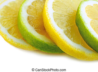 Citrus slices on white background