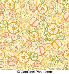 Vector citrus slices seamless pattern background with hand drawn elements