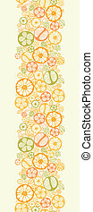 Citrus slices vertical seamless pattern background border