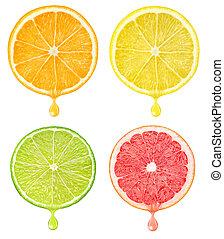 Citrus slices with drop of juice