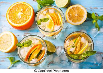 citrus, water, munt