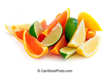 Citrus wedges - Wedges of assorted citrus fruits isolated on...