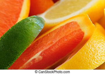 Citrus wedges - Wedges of assorted citrus fruits lemon ...