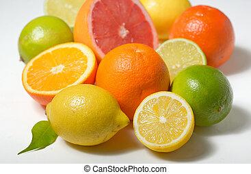 citrus, witte , vrijstaand, achtergrond, vruchten