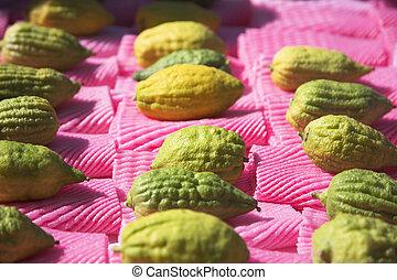 citruses, 上, a, 假期, 市場, 上, sukkoth
