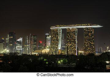 città, 3, notte, orizzonte, singapore