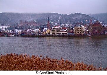 città, 3, vecchio, inverno, heidelberg