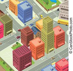 città, aereo, cartone animato, vista