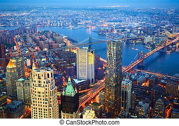 città, aereo, crepuscolo, york, nuovo, vista