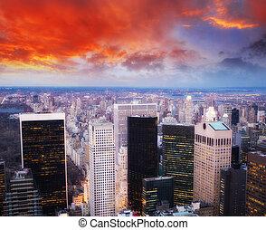 città, aereo, grattacieli, centro, orizzonte, notte, vista