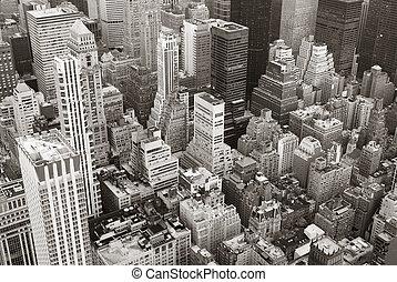 città, aereo, orizzonte, nero, york, nuovo, bianco, manhattan, vista