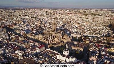 città, aereo, storico, cattedrale, siviglia, spagna, vista