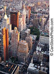 città, aereo, strada, york, nuovo, manhattan, vista