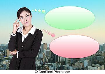 città, affari donna, pensare, molti, idee, bolla, vuoto