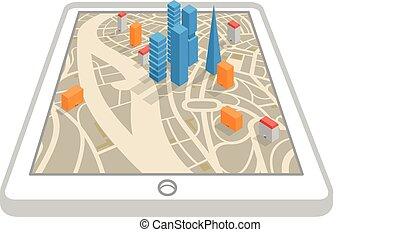 città, aggeggio, moderno, astratto, mappa