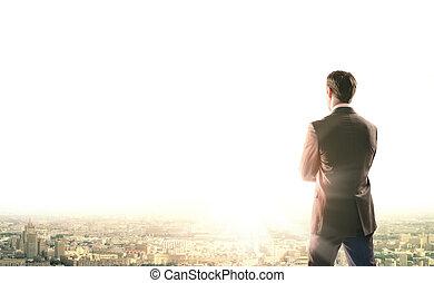 città, alba, occhiate, affari, uomo