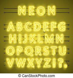 città, alfabeto, neon, giallo, vettore, testo, illustrazione, notte, font