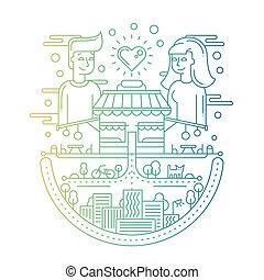 città, amore, -, illustrazione, disegno, linea
