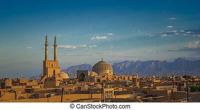 città, antico, iran, sopra, yazd, tramonto