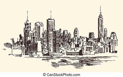città, architettura, illustrazione, york, nuovo, inciso