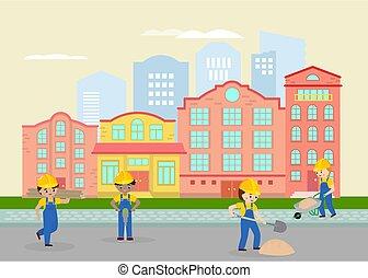 città, asfalto, appartamento, giallo, shovels., strada, disegno, element., labours, città, lavorativo, lavorante, uniforme, paesaggio, caschi, drawing., cartone animato, riparare, illustration., sabbia, vettore, lavori in corso, strada