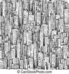 città, astratto, illustrazione, mano, fondo., disegnato