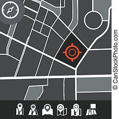 città, astratto, illustrazione, mappa