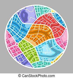 città, astratto, mappa, fondo.