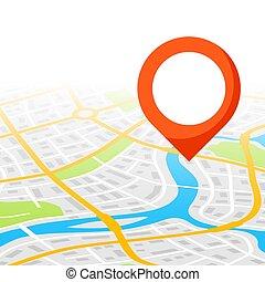città, astratto, marker., fondo, mappa