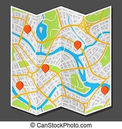 città, astratto, markers., mappa