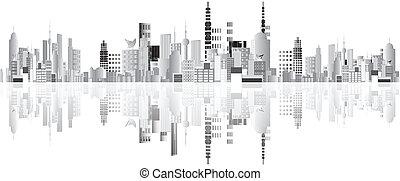 città, astratto, vettore