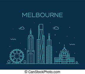 città, australia, lineare, grande, melbourne, orizzonte, vettore