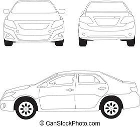 città, automobile, linea, illustrazione