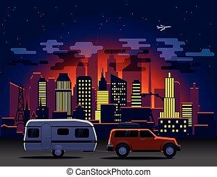 città, automobile, moderno, notte, illuminazione, viaggiante