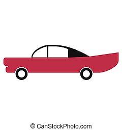 città, automobile, semplice, arte, geometrico, illustrazione