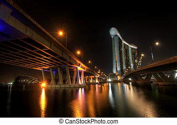 città, autostrada, notte