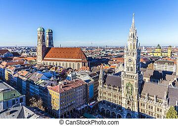 città, bavarese, chiesa, monaco, frauenkirche