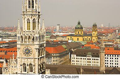 città, (bavaria, aereo, munchen, germany), nuovo, salone,...