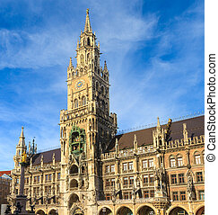 città, baviera, monaco, gotico, marienplatz, germania,...