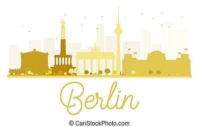 città, berlino, dorato, orizzonte, silhouette.