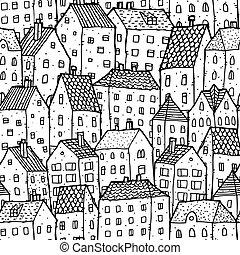 città, bianco, seamless, balck, modello