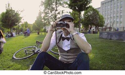 città, bicicletta, macchina fotografica, park., maturo, uomo...