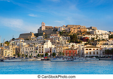 città, blu, eivissa, mediterraneo, ibiza