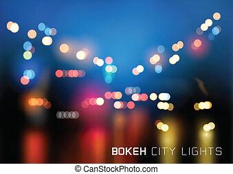 città, bokeh, vettore, traffico