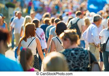 città, camminare, persone strada