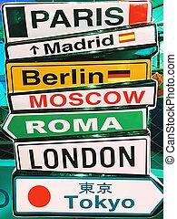 città capitali, segno freccia, informazioni