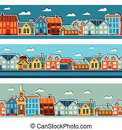 città, carino, colorito, adesivo, houses., seamless, modelli