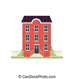 città, casa, verde, mattone, erba, scale, rosso