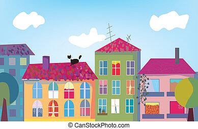 città, case, cartone animato, facciate