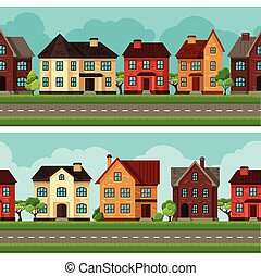 città, case, profili di fodera, seamless, cottage